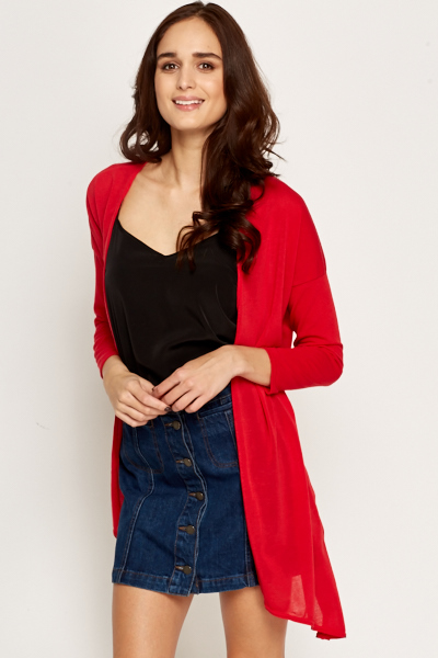 Red Asymmetric Open Cardigan