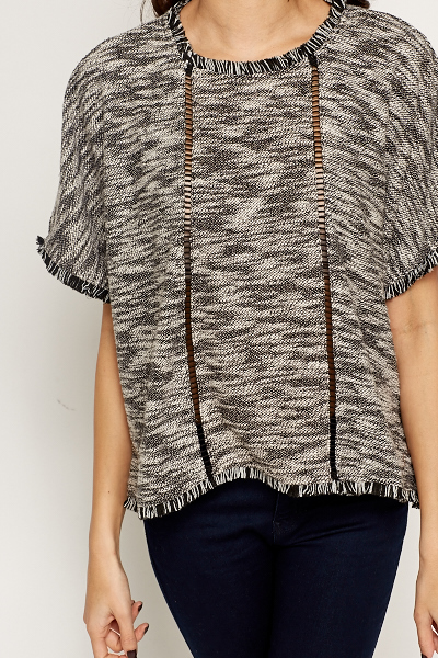 Speckled Frayed Hem Top