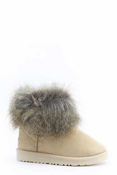 Chunky Faux Fur Trim Boots