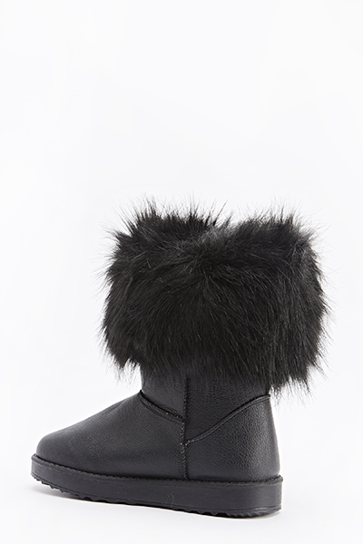 Faux Fur Trim Flat Boots