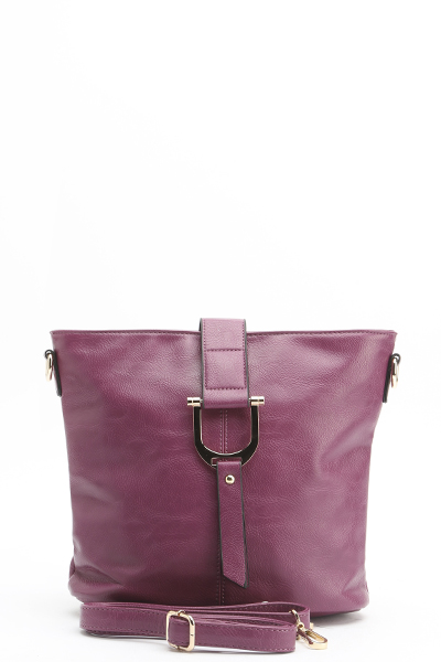 Faux Leather Basic Handbag