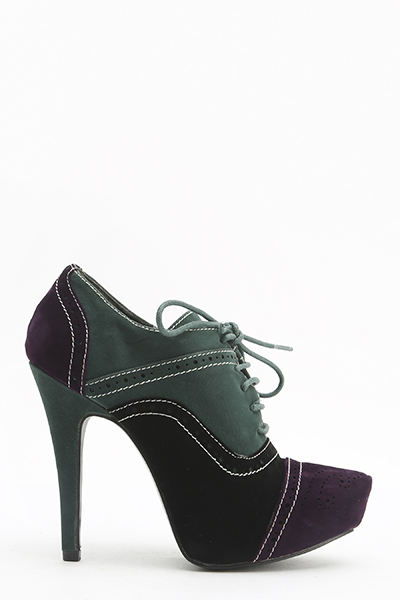 Suedette Contrast Lace Up Heels