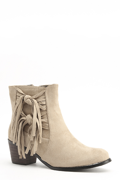 Suedette Tassel Side Boots