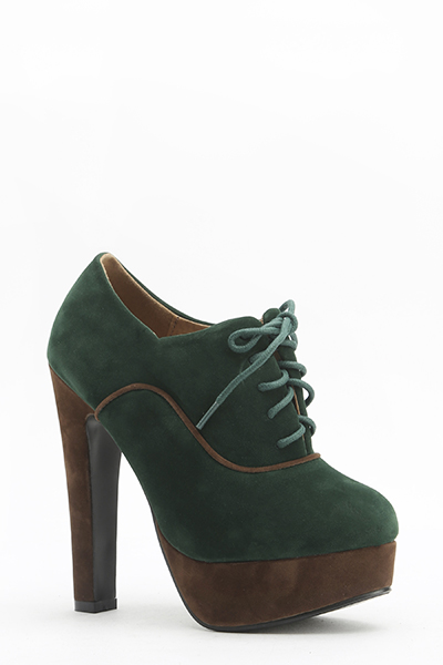 Velveteen Colour Block Heels