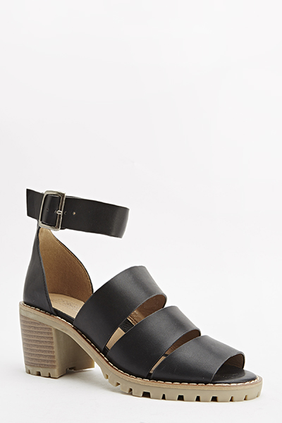 Wooden Heel Strappy Sandals