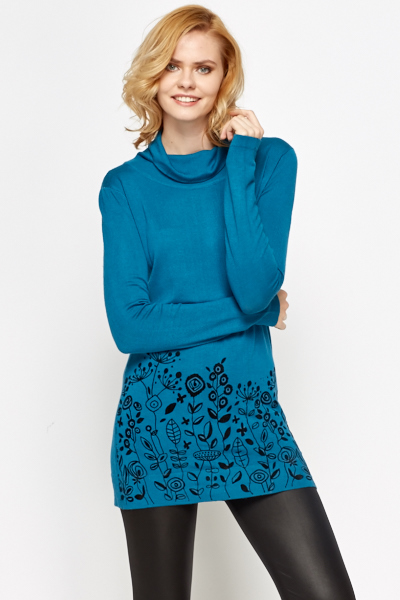 Floral Border Roll Neck Top