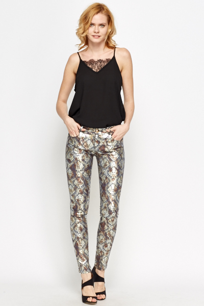 Ornate Metallic Printed Trousers