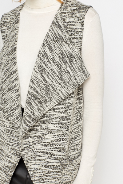 Sleeveless Speckled Textured Cardigan