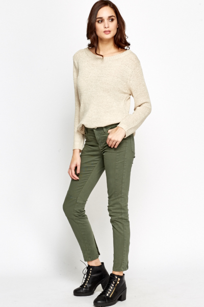 Faux Zip Pocket Quilted Treggings