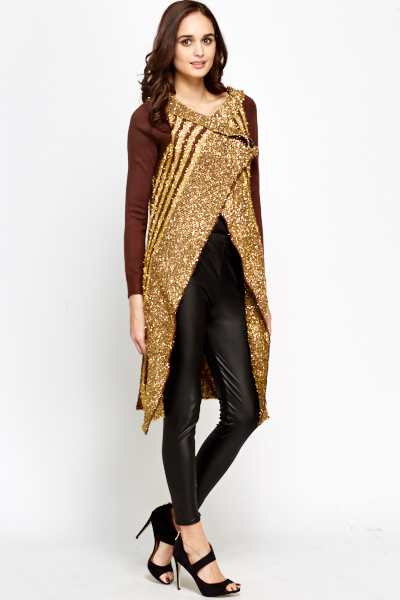 Glitter Aztec Long Cardigan