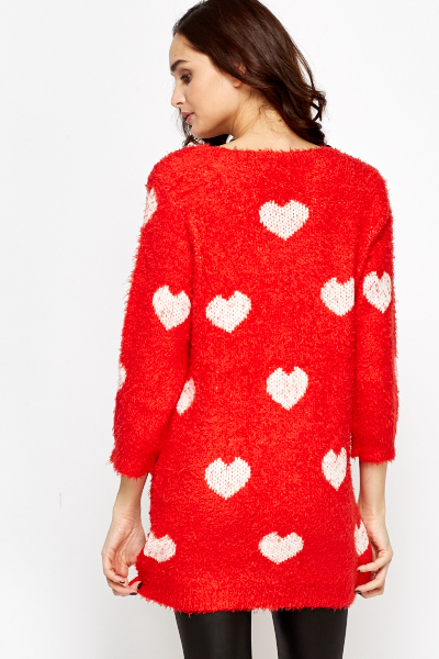 Heart Pattern Knit Jumper