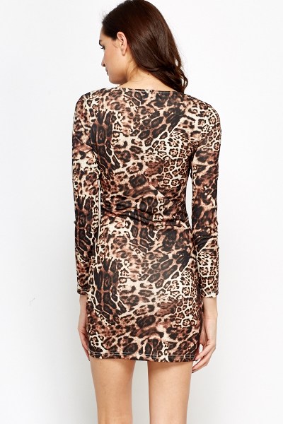 Leopard Print Ruched Dress