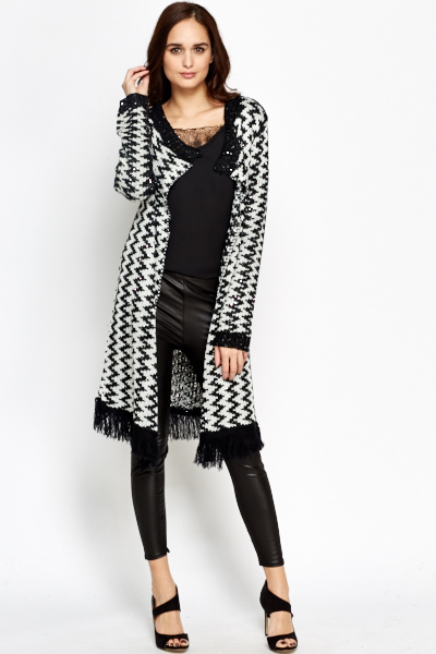Open Front Fringed Hem Cardigan