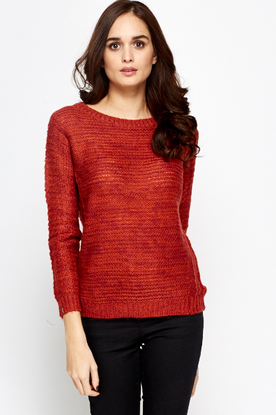 Ribbed Neck Knit Jumper