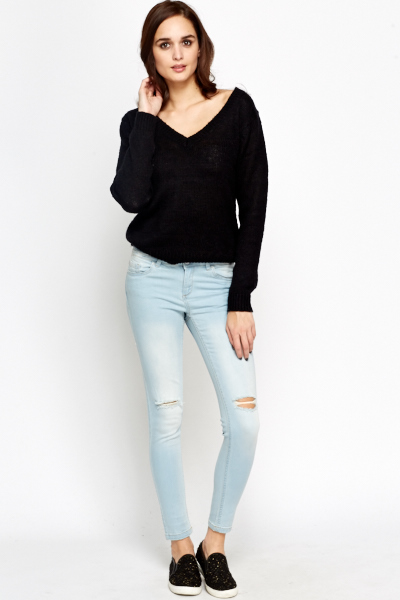 Ripped Knee Slim Fit Jeans
