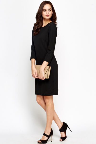 Studded Shoulder Black Midi Dress
