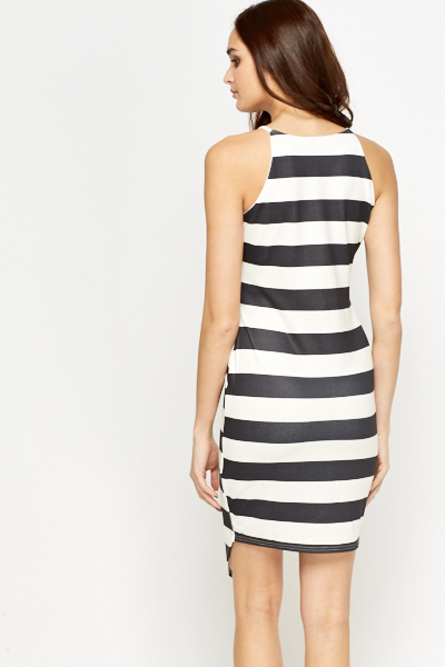 Asymmetric Striped Bodycon Dress