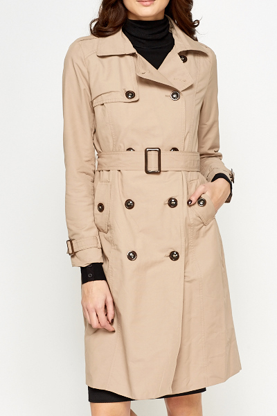 Beige Long Mac Jacket