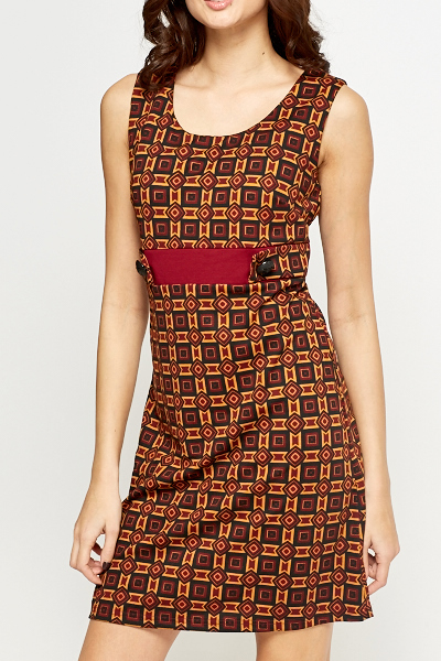 Button Waist Geo Shift Dress