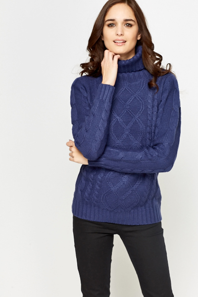 Chunky Cable Knit Roll Neck Jumper