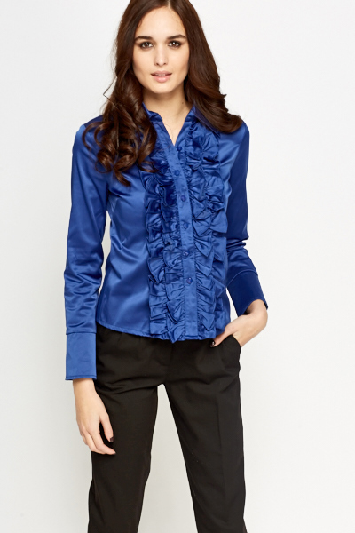 Frill Front Button Up Blouse