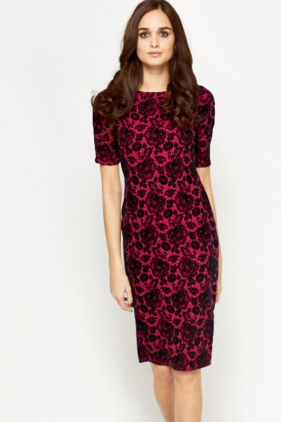 Fuchsia Lace Overlay Midi Dress