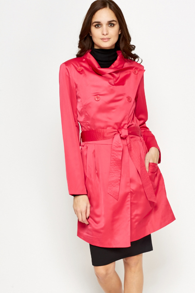 Pleated Side Cowl Neck Coat