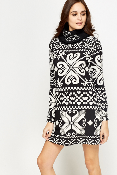 Roll Neck Shift Jumper Dress
