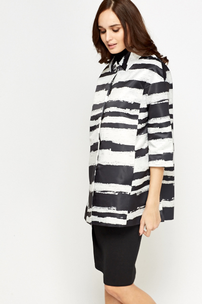 Stripy Short Sleeves Blazer