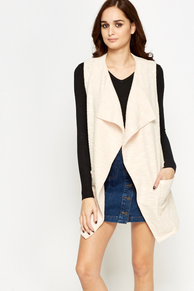 Waterfall Apricot Sleeveless Cardigan