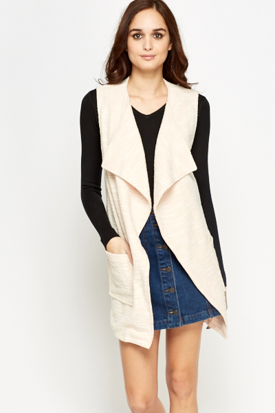 Waterfall Apricot Sleeveless Cardigan - Just £5