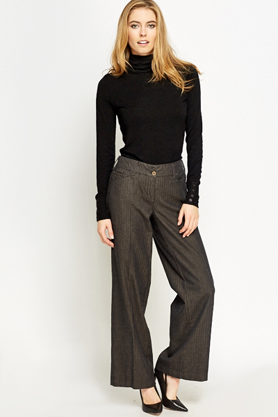 Charcoal Wide Leg Trousers