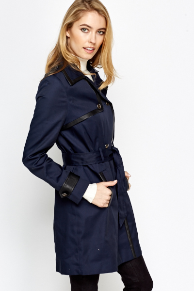 Faux Leather Trim Navy Mac Jacket