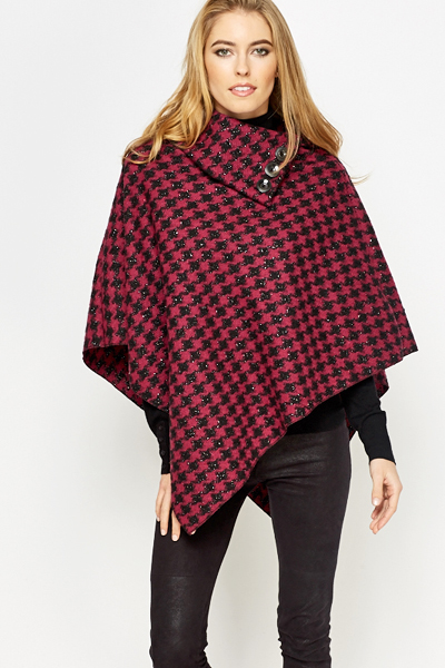 Houndstooth Collared Poncho