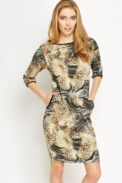 Mixed Animal Print Dress
