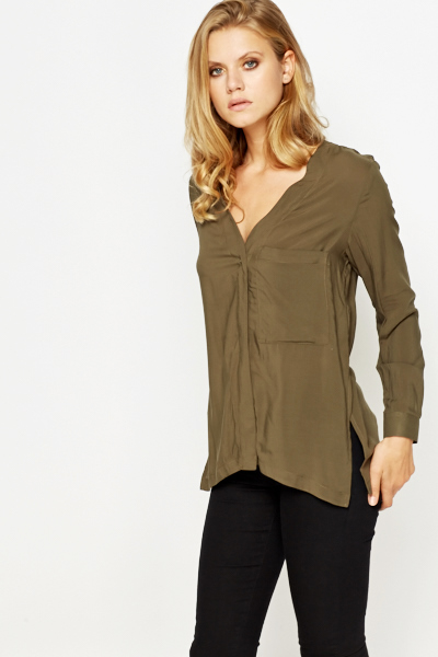 Olive V-Neck Slit Hem Blouse
