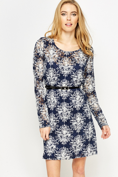 Tapestry Print Lace Shift Dress
