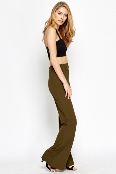 Wide Leg Elastic Trousers