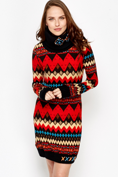 Aztec Roll Neck Jumper