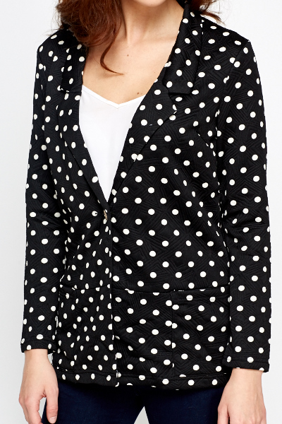 Black White Polka Dot Blazer. This is the perfect blazer for a formal event or a night out on the town. Use it as a dinner jacket or pair it with your favorite pair of jeans.