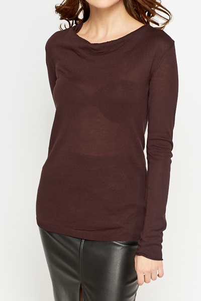 Chocolate Cowl Neck Top