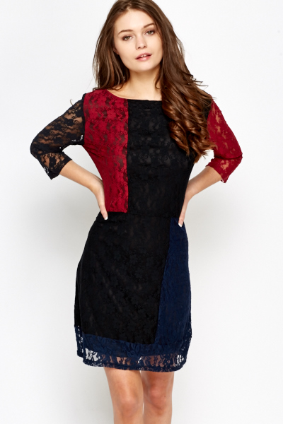 Colour Block Lace Overlay Dress
