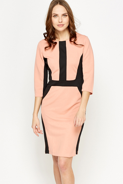 Contrast Geo Pencil Dress
