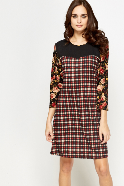 Contrast Sleeves Tartan Swing Dress