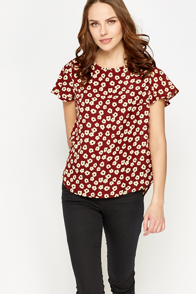 Flared Sleeve Floral Blouse