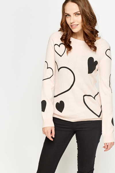 Light Pink Heart Print Jumper