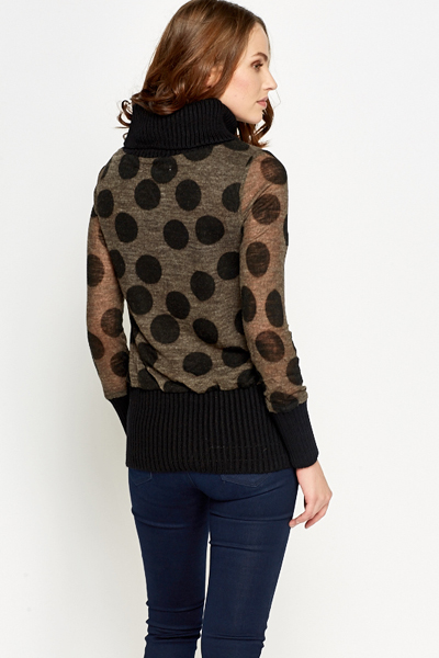 Polka Dot Roll Neck Jumper