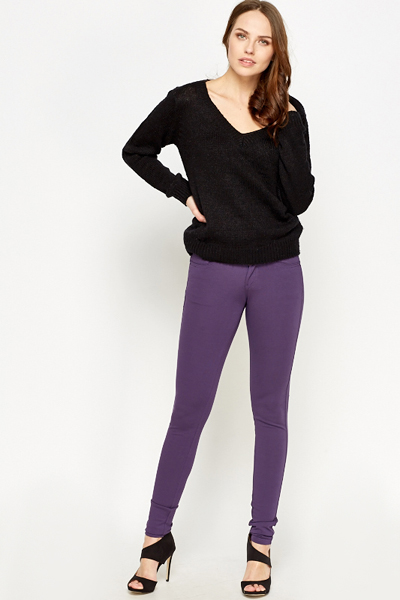 Purple Slim Leg Trousers