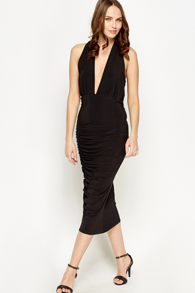 0448c5cbb5b Ruched Plunge Midi Dress - Just £5