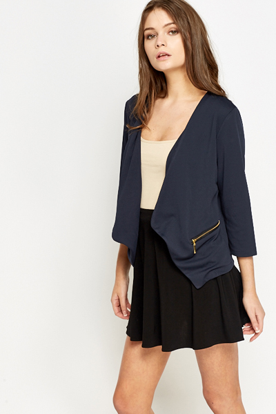 Zip Detail Waterfall Blazer